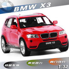 2016 fast shipping 1:32 Pull Back Acousto-optic Toys Classic Alloy Antique Car Model for B M W X3 with light and sound(China)