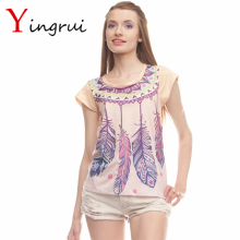 Summer Casual Print T-shirt For Women Dreamcatcher Pattern O-Neck Short Tops Girls Bohemia Feather Tees Women's Tops