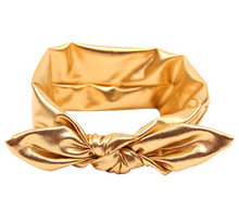 Fashion kids girl headband lovely bow Rabbit Elasticity shiny Gold Headband for girl Hair Accessory diademas pelo hot sale #5