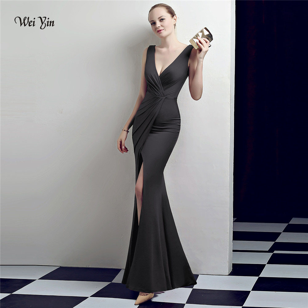 weiyin 2018 Black Long Prom Dresses Mermaid Evening Dress Women Party Gown Sexy High Slit Backless WY1030