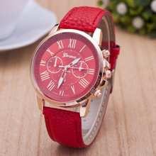 Fashion Women Watch Roman Numerals Faux Red Leather Top Luxury Analog Casual Ladies' Watches Quartz Wristwatch Fashion Jewelry