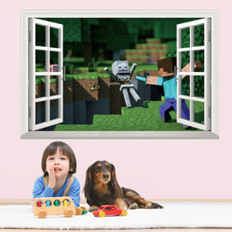 HTB1pjHye6uhSKJjSspdq6A11XXat - Newest Minecraft Wall Stickers 3D Wallpapers Kids Room Decals Minecraft Steve Home Decoration Popular Games Home Free Shipping