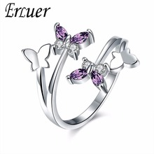 Buy ERLUER Adjustable butterfly Crystal Wings ring women love Jewelry Girls Trendy Wedding Bands Fashion Party Rings for $1.59 in AliExpress store