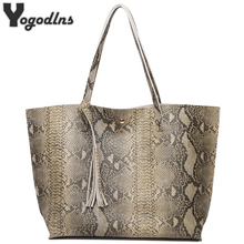 Female Leather Bags Fashion Snake Pattern Tote Bag Top Quality Leather Handbags Big Size Casual Clutch Shoulder Bag High Quality(China)