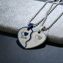 2017 Fashion Couple love heart pendants necklace for lover Blue Silver Color Stainless Steel Heart to Heart Pair White Day Gift