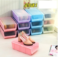 Color thicken shoebox draw-out type plastic shoes receive sundry receive transparent cover cheek shoe box