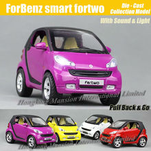 1:32 Scale Diecast Alloy Metal Car Model For ForBenz smart fortwo Collection Model Pull Back Toys Car With Sound&Light