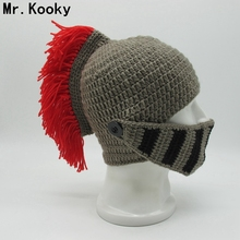 Mr.Kooky Winter Handmade Funny Hats Cool Red Tassel Roman Knight Helmet Mask Beanies Cosplay Caps Men's Women's Gag Party Gifts(China)