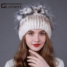 Glaforny 2017 Winter Women Fur Hat Knitted Rex Rabbit Fur Caps with Fox Fur Flowers Stripe Fur Beanies New Fashion Causal Hats(China)
