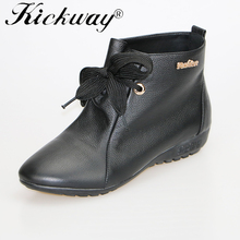 Kickway Big size 34-44 Brand 2016 new boots shoes Autumn Winter Female Genuine Leather Boots women boots Flat boots women warm