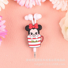 Cups Style Mini 3.5mm in-ear Earphone headset earbuds Cartoon retractable headphone For Samsung Xiaomi HTC MP3 MP4(China)
