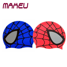 Hot Silicone Children Elastic Cartoon Spiderman Printed Swimming Cap Red/Blue Sports Pool Cute Swim Hat for Kids/Boys/Babys