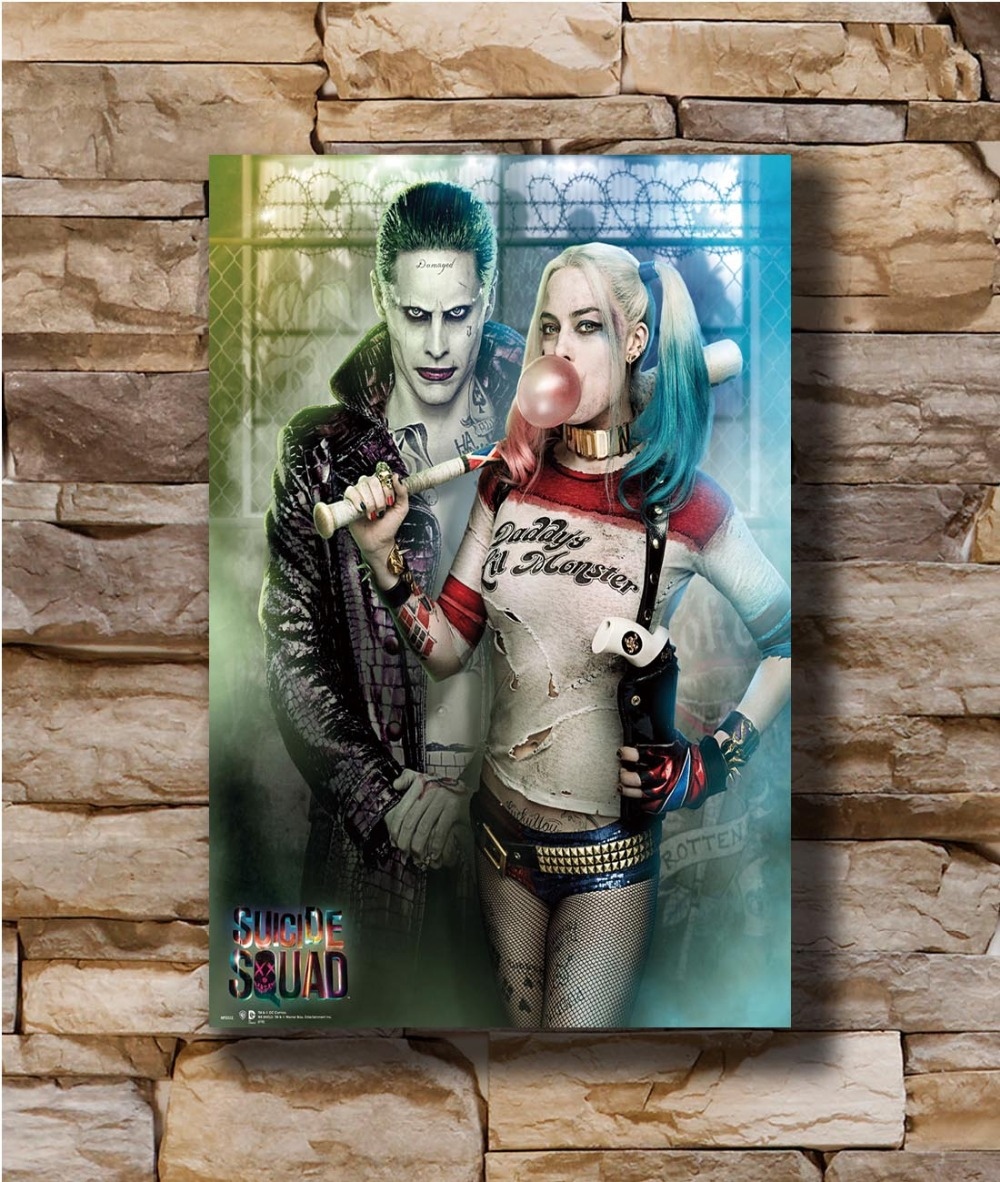 Suicide Squad Superheroes Movie Silk Canvas Poster Print Harley Quinn Joker