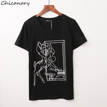 Chicanary Women's Bambi Stencil Print Tee Cotton Short Sleeve Relaxed Fitted T-shirts Tops