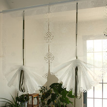 Free Shipping! 1 Panel White Hollow Embroidered Roses Organza Adjustable Height Balloon curtain   Roman Curtain Multi- Size