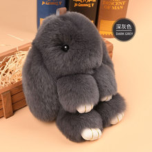 2017 Genuine Rex rabbit Furs Pendant Bag Car Charm Tag 14cm Fluffy Bunny Rabbit Plush Toy Doll Fur Monster Stuffed Plush Animal