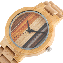 Modern Men Wrist Watch Fold Clasp Quartz New Arrival Unique Colorful Dial Nature Bamboo Full Wood Bangle Casual for Men Women