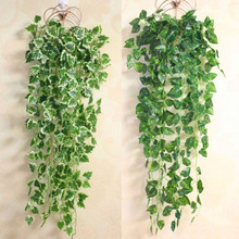 Popular Home Decor Green Plant Ivy Leaf Artificial Flower Plastic Garland Vine artificial flowers wall
