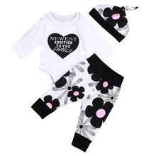 Newborn Infant Baby Boy Girl Cotton Tops Romper Pants 3Pcs Outfits Set Clothes Warm Toddler Boys Girls Clothing Set Casual Soft(China)