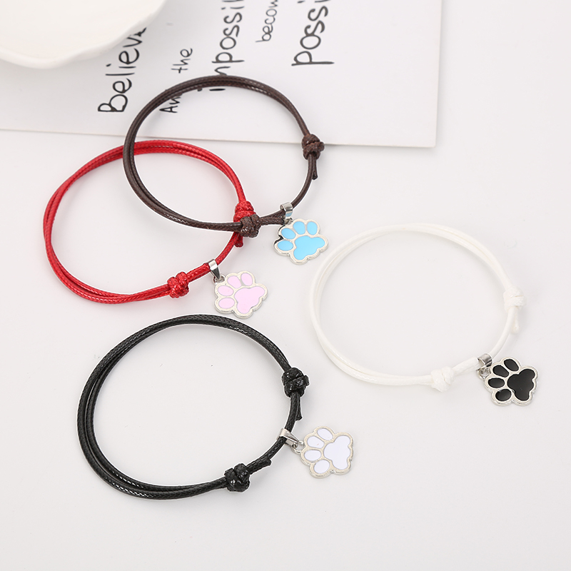 BOBIGIULAI Brand 2pcs/set Cute Dog Footprint Couple Bracelet Fashion Simple Adjustable Bracelet Jewelry For Student Gift