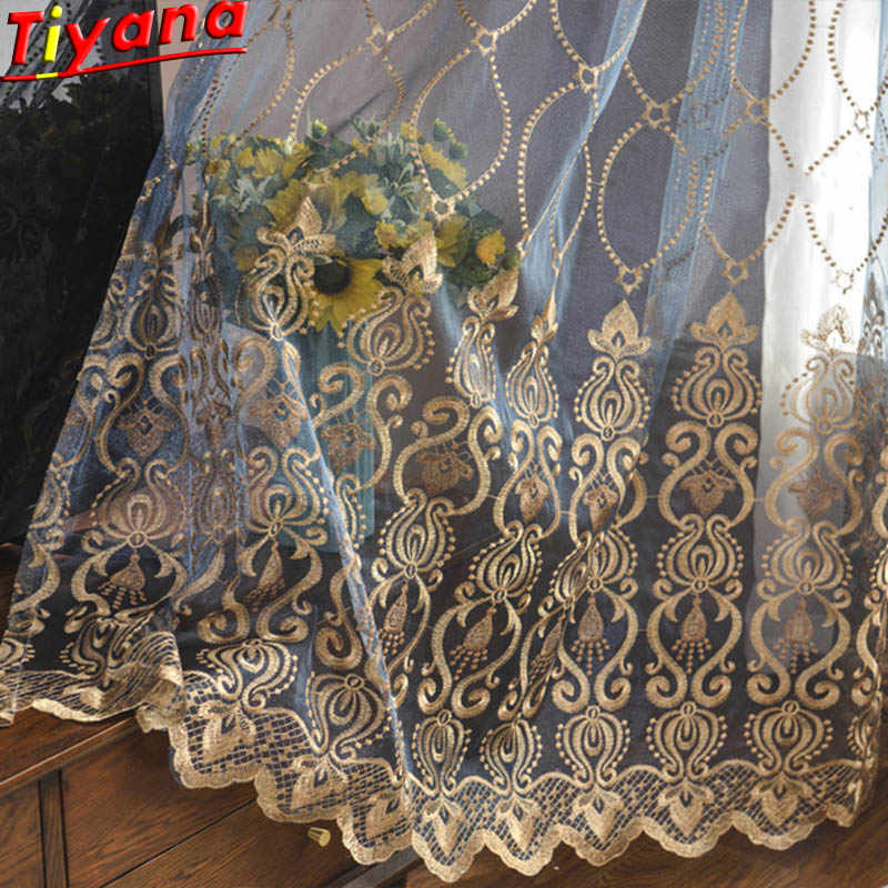 Blue Luxury Embroidery Tulle for Living Room Cheap Curtain Window Drapes for Bedroom Discount Yellow Thin Curtain Voile M072#30