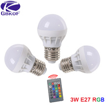 Low price RGB LED Lamp E27 3W LED Bulb RGB Soptlight 85-265V Energy Saving 16 Color Change LED Lampara With IR Remote Brand NEW(China)