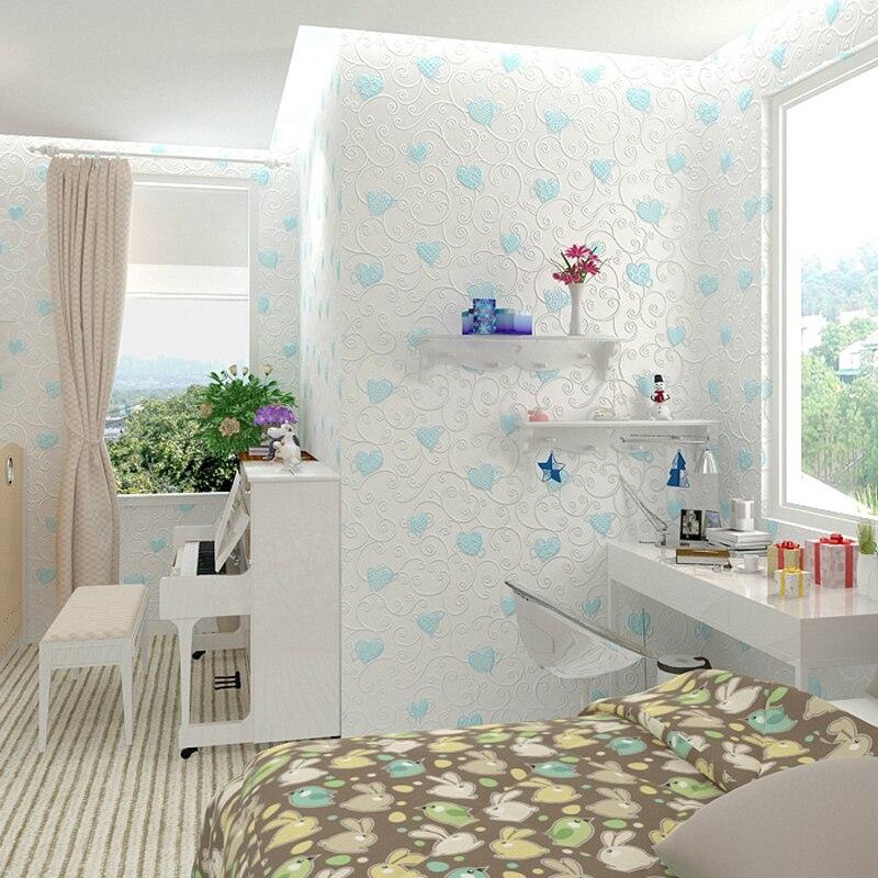 Children Wallpaper Roll Girls Bedroom Wallpapers Non-woven Wallpapers Blue Pink Heart Wallpaper Kids Room Wall Paper,Paper Wall<br>