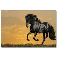 NICOLESHENTING Wild Horse Sunset Nature Art Silk Poster Print 12x18 24x36 inches Animals Picture Home Room Decor 021