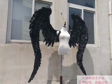 Black angel wings demon wings large feathers angel wings model catwalk shows party props cosplay studio photography