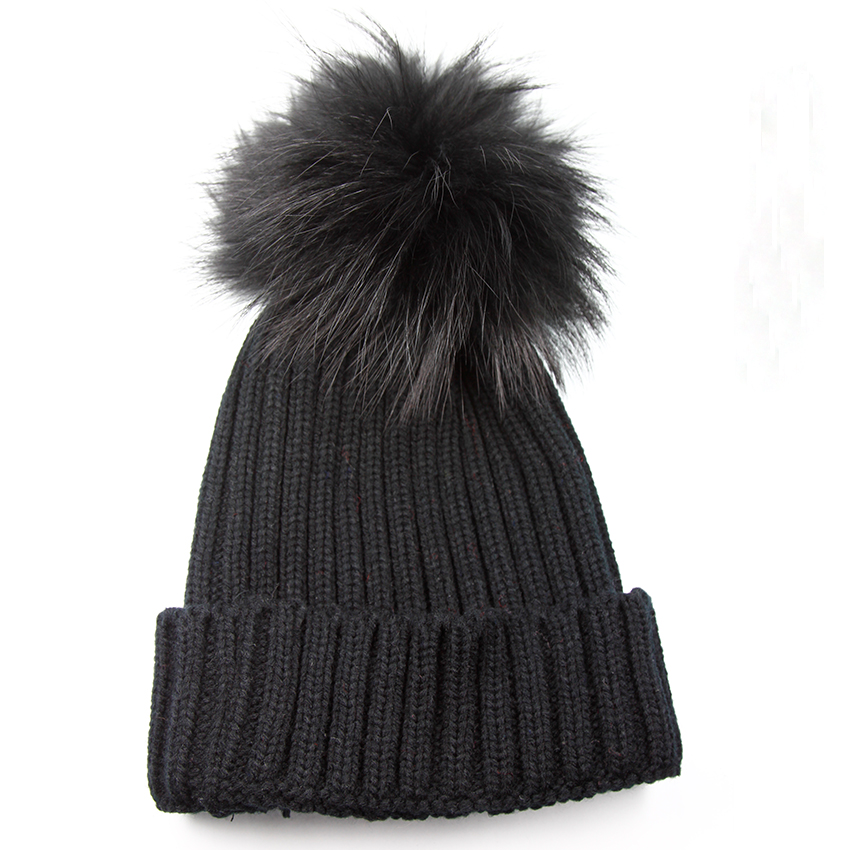 New Fashion Womens Winter Hats With Black Real Raccoon Fur Pompom Casual Adults Black Fur Pom Pon Beanies Caps For MenОдежда и ак�е��уары<br><br><br>Aliexpress