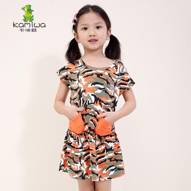 KAMIWA 2017 Summer Style Leopard Print Casual Pockets Teenage Girls Dresses Pink/Orange Short Childrens Clothing Kids Clothes<br>