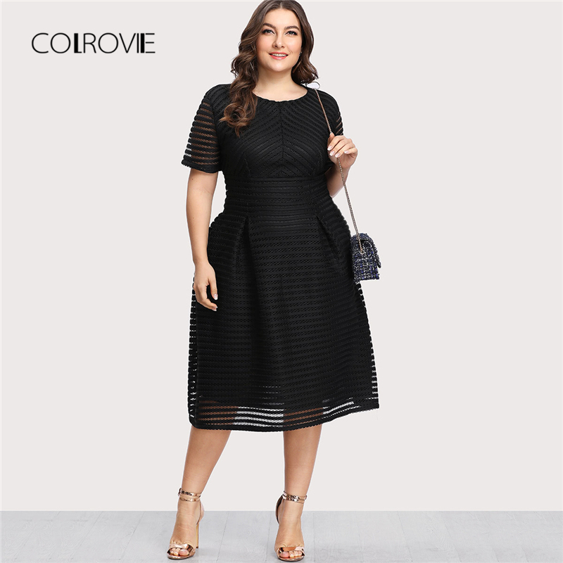 COLROVIE Plus Size Black Pleated High Waist Striped Mesh Sheer Sexy Dress Women Autumn Party Dress Elegant Long Dresses