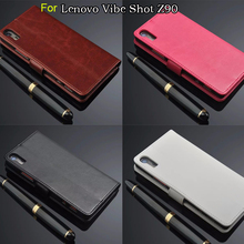 For Lenovo Vibe Shot z90-7 Retro Leather Case For Lenovo Vibe Shot Z90 Z90-7 Three Card Holder Wallet Case Black Brown(China)