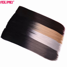"Feilimei Synthetic Ombre Long Straight Clip in Hair Extensions 5Clips 24"" 60cm 120g Silver Gray Blonde Colored Women's Hairpiece(China)"