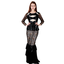 Buy Wonder beauty Women Long Sleeve Vintage black lace patchwork Faux leather Dress Brand New design Maxi Dresses Sexy long dresses for $31.85 in AliExpress store