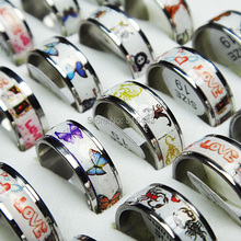 Special Offer Wholesale Jewelry Lots 10pcs Stainless steel Enamel Butterfly Love skull Scorpion Mixed Fashion Rings A-464