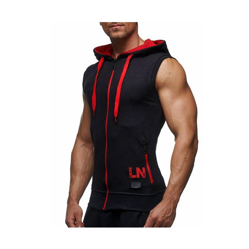Male Bodybuilding Hoodies Fitness Clothes Hoody Cotton Hoodie Men Sweatshirts Men's Sleeveless Tank Tops Casual Vest 24