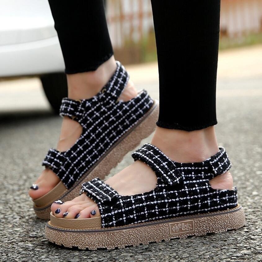 {D&amp;H}Plus Size35-43 Lattice Platforms Sandals Summer Flat Shoes Flip Flops Sandale Femme Women Shoes 2017 New Arrivals<br><br>Aliexpress