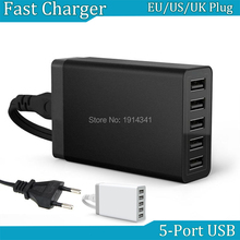 5 Port Wall Home Charger Adaptor 40 watt 5V 8A EU US UK Plug AC To USB power socket Station For Mobile phone tablet wholesale