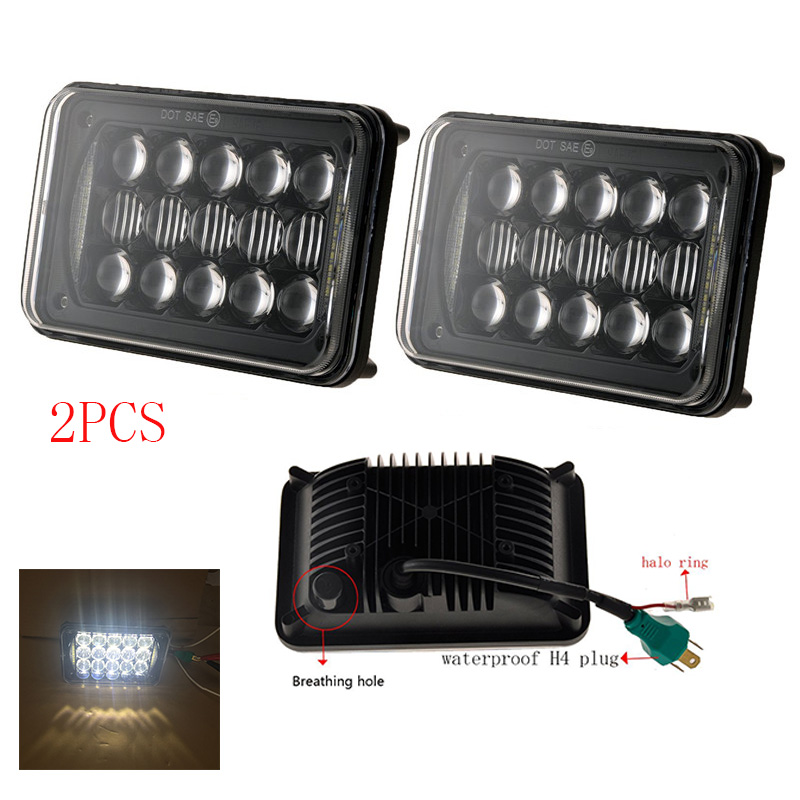4X6 INCH LED Headlight Bulb Hi/Low beam DRL Rectangular Truck light Projector Lens for Kenworth Peterbilt Freightliner Classic<br>