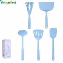 5Pcs / Set Kitchen Cooking Utensils Heat Resistant Baking Tools Include Ladle/Spatula/Slotted Turner/Potato Masher/Fish Flipper