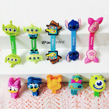 10pcs/lot Lovely Owl Stitch Pooh Cartoon Cable Winder Headphone Earphone Cable Wire Organizer Cord Holder For iphone samsung(China)