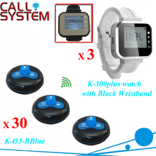 3 Watch Pager with 30 Call Buttons Electronic Restaurant Wireless Waiter Call System