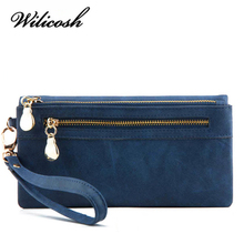 Wilicosh Famous Brand Women Wallets Ladies Clutch Leather Wallet Female Wallet Luxury Designer Purses For Women WBS124(China)