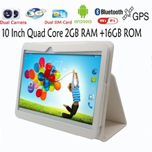 Original 10 Inch WiFi GPS FM Bluetooth 2G+16G Tablets Pc Built-in 3G Phone Call Android Quad Core Android 4.4 2GB RAM 16GB ROM