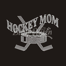 25PCS/LOT Hot Fix Iron On Rhinestone Transfers Hockey Mom Design Custom Orders are welcome(China)