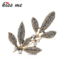 KISS ME Antique Gold Color Leaves Rhinestone Hairpins 2017 New Alloy Vintage Hair Jewelry Accessories