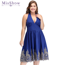 Cheap Simple Fashion Sleeveless Plus size Cocktail Dresses Short Knee Length Casual Halter Dress A-line Blue Cocktail Dresses(China)