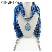 [RUNMEIFA]   2017 Leopard Scarf fashion alloy resin round pendant scarf jewelry rhinestones charm with scarves Free shipping