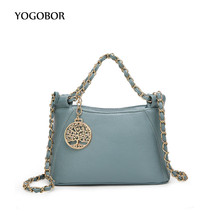 YOGOBOR brand PU leather solid bags for women all-match chains shoulder messenger bags blue black casual tote bag hobos handbag